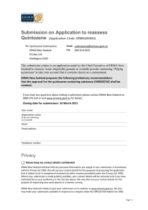 Submission on Application to reassess Quintozene