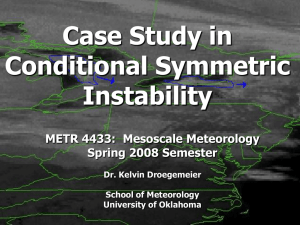 Case Study in Conditional Symmetric Instability METR 4433:  Mesoscale Meteorology