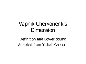 Vapnik-Chervonenkis Dimension Definition and Lower bound Adapted from Yishai Mansour