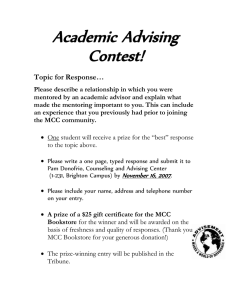 Academic Advising Contest! Topic for Response…