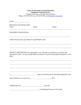 Center for the Study of Social Dynamics Equipment Checkout Form mail