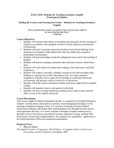 ENGL 4238: Methods for Teaching Secondary English Prototypical Syllabus
