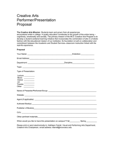 Creative Arts Performer/Presentation Proposal