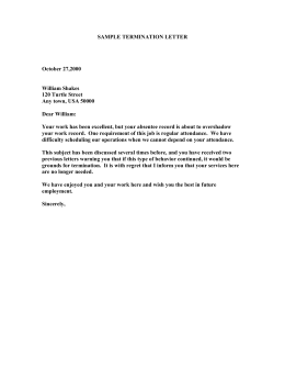 SAMPLE TERMINATION LETTER October 272000 William Shakes
