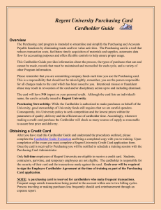 Purchasing Card Cardholder Guide