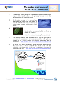AC3.1  The water environment WATER CYCLE: Condensation