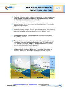 AC1  The water environment WATER CYCLE: Overview