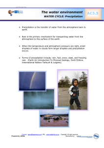 AC3.5  The water environment WATER CYCLE: Precipitation