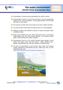 AC3.3  The water environment WATER CYCLE: Groundwater flow