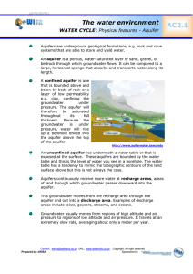 AC2.1  The water environment WATER CYCLE