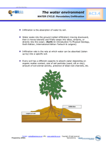 AC3.4 The water environment  WATER CYCLE: Percolation/Infiltration