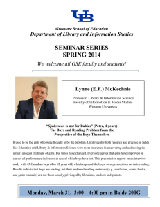 SEMINAR SERIES SPRING 2014  Department of Library and Information Studies