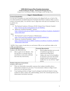UMD GK-12 Lesson Plan Template Instructions Stage 1 – Desired Results
