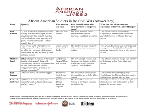 African American Soldiers in the Civil War (Answer Key)