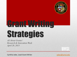 Grant Writing Strategies All About Grants! Research & Innovation Week