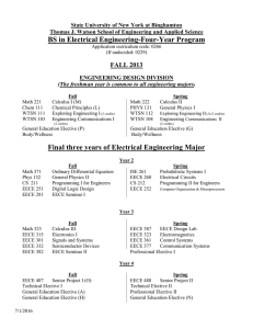 BS in Electrical Engineering-Four-Year Program FALL 2013