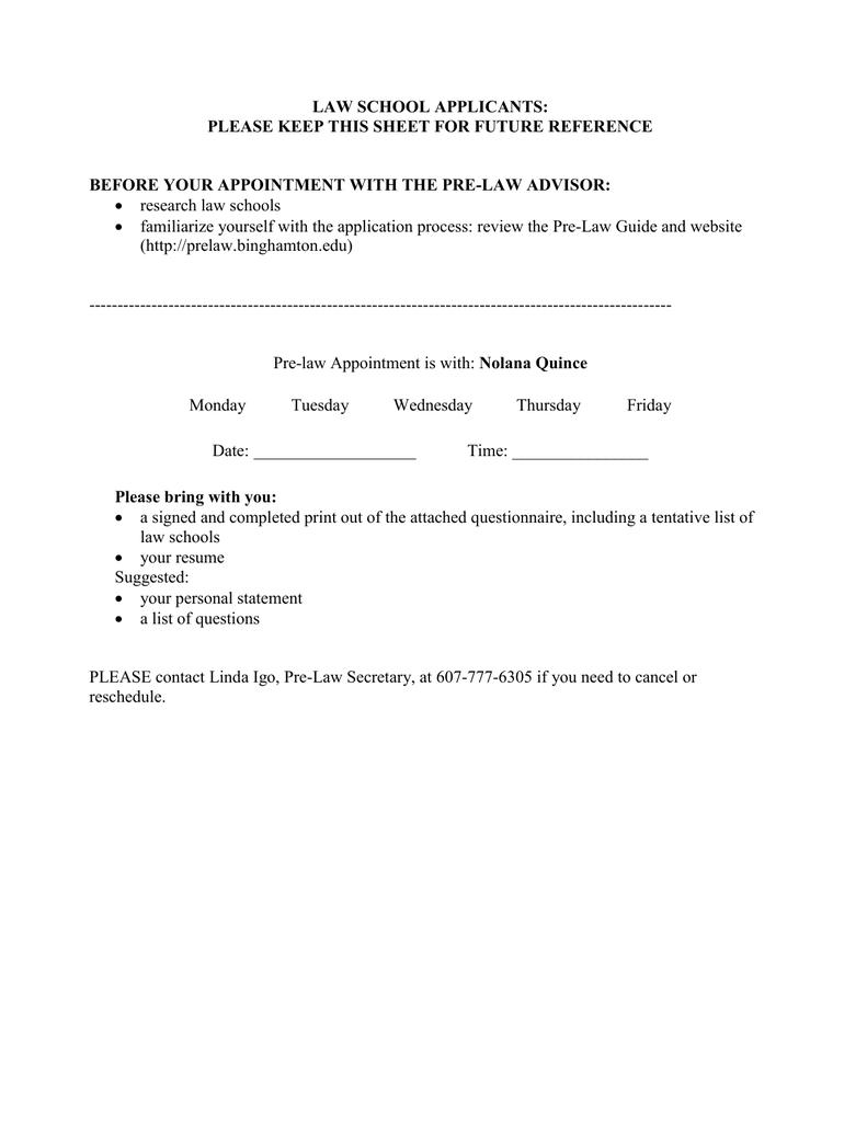 Pre Law Questionnaire