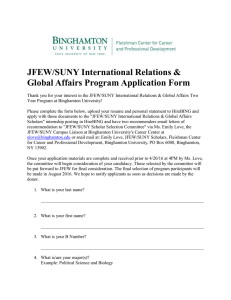 JFEW/SUNY International Relations & Global Affairs Program Application Form