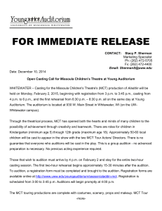 Open Casting Call: Missoula Children's Theatre this February