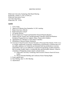 MEETING NOTICE  Whitewater University Technology Park Board Meeting