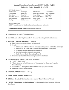 Agenda Chancellor's Task Force on LGBT* for May 17, 2012