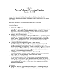 Women's Issues Committee Meeting  Minutes October 11, 2012