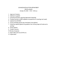 COUNSELOR EDUCATION DEPARTMENT Meeting Agenda
