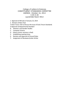 College of Letters & Sciences CONSTITUENCY STANDARDS COMMITTEE AGENDA –October 16, 2014 3:45-5:30