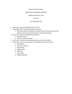 College of Letters & Sciences CONSTITUENCY STANDARDS COMMITTEE AGENDA –December 4, 2014 3:45-5:30