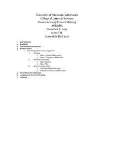 University of Wisconsin-Whitewater College of Letters & Sciences Dean's Advisory Council Meeting AGENDA