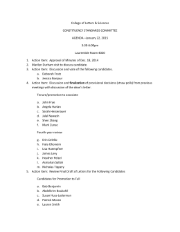 College of Letters & Sciences CONSTITUENCY STANDARDS COMMITTEE AGENDA –January 22, 2015 3:30-6:00pm