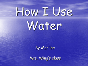 How I Use Water By Marilee Mrs. Wing's class