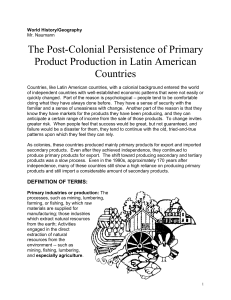 Post Colonial Economic Patterns