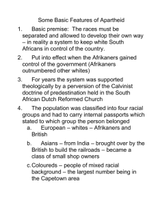 Some Basic Features of Apartheid