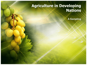 Agriculture in Developing Nations A Sampling