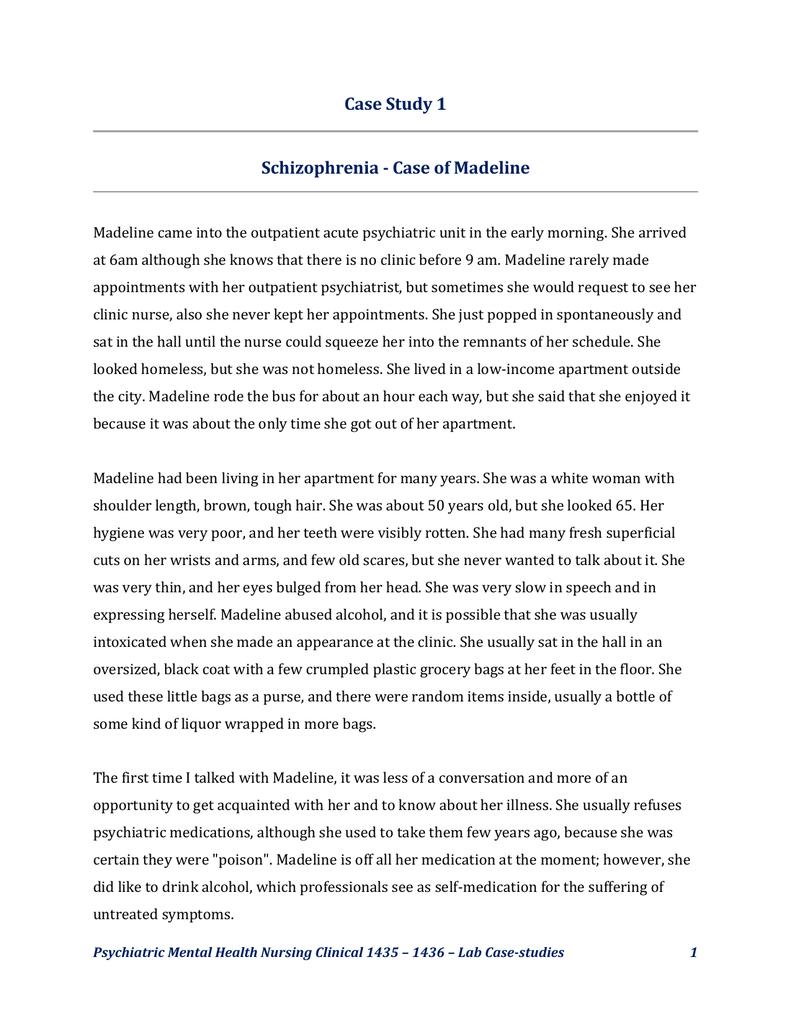 Case Study Mental Health Nursing