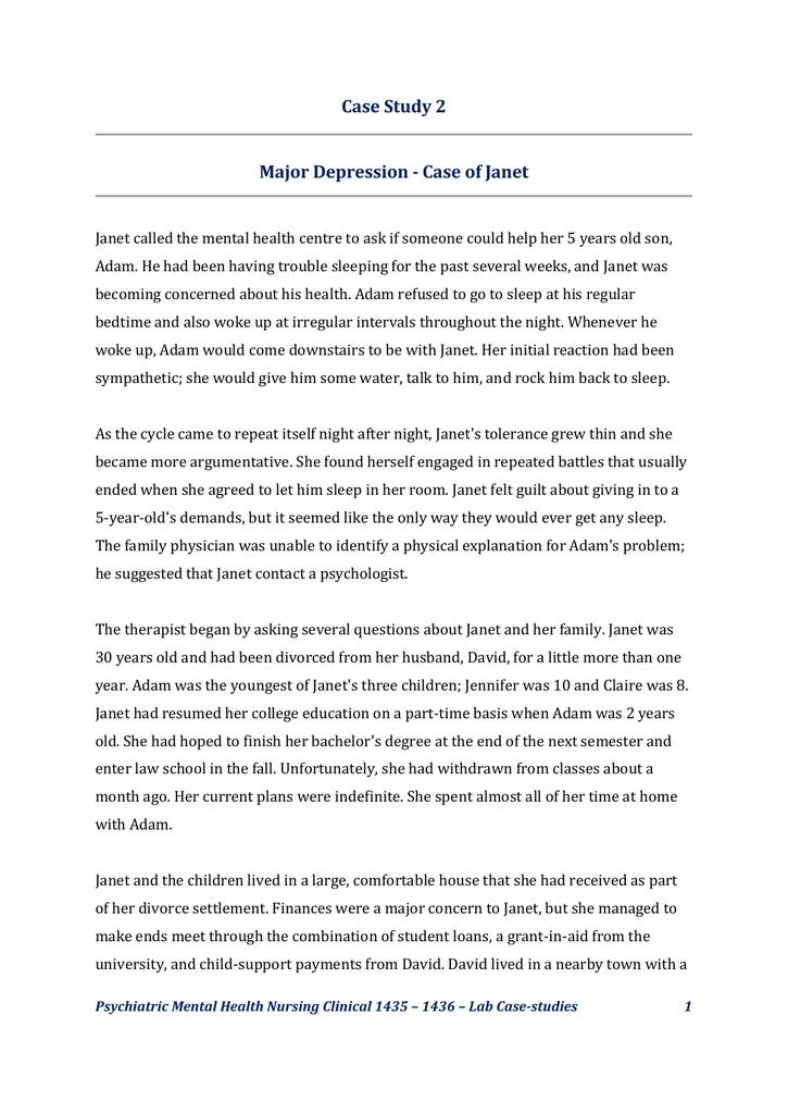 Case Study 2 Major Depression - Case of Janet