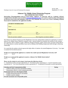 Johnson City Middle School Mentoring Program RECOMMENDATION FORM