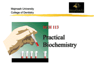 Lab. 1 Introduction of biochemistry test and their importance