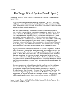 The Tragic Wit of Psycho (Donald Spoto)