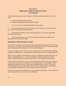 Assignment: Proposal and Independent Study Documents Project