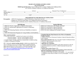 Plan of Study Form for the Special Education Grades B-2 or B-6 MSEd Program