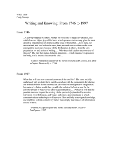 Writing and Knowing: From 1746 to 1997 From 1746…