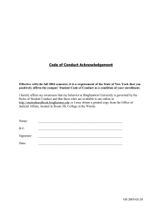 Code of Conduct Acknowledgement