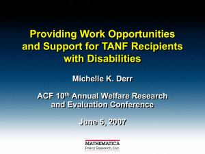 Providing Work Opportunities and Support for TANF Recipients with Disabilities