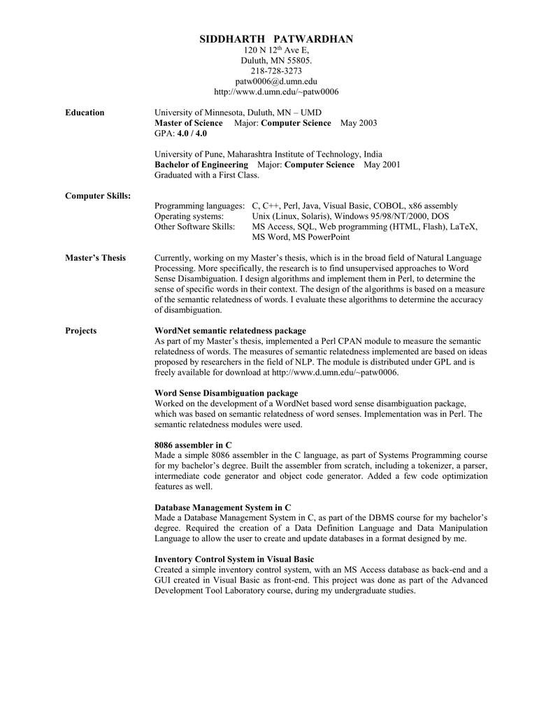 Resume (MS Word 2000)