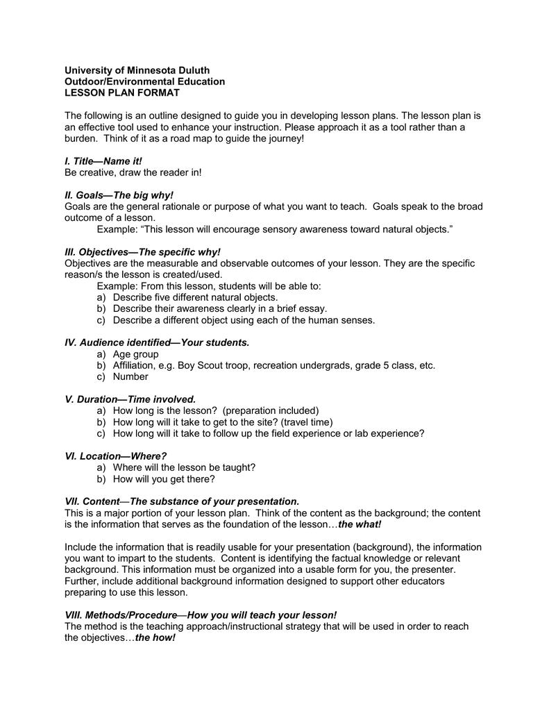 University Of Minnesota Duluth OutdoorEnvironmental Education - University lesson plan template