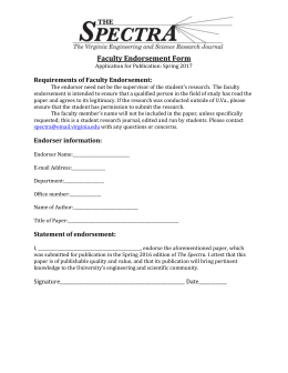 Faculty Endorsement Form Requirements of Faculty Endorsement: