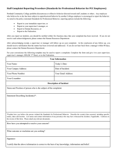 Staff Complaint Reporting Procedure (Standards for Professional Behavior for PCC...