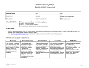 Portland Community College Confidential Staff Assessment  